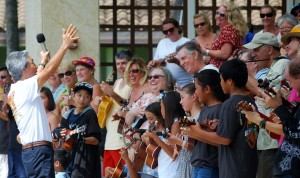 "Roy Sakuma leading this year's 'ukulele workshop students to his favorite song, ""I Am What I Am"" at the 10th 'Ukulele Festival at the Maui Arts & Cultural Center."
