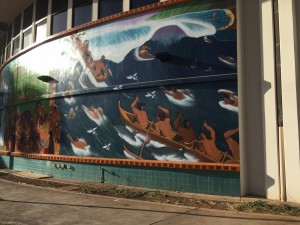 The dirt lay barren by the new mural on Ka'a'ike building.