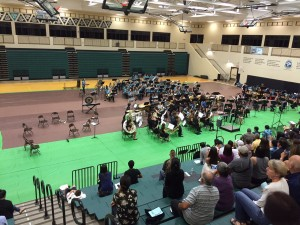 Concert bands from Kalama Intermediate, King Kekaulike, Kamehameha Maui and Seabury Hall gather in preparation for the festival.