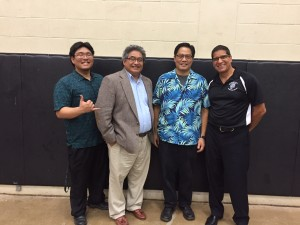 (Left to Right) Band directors Casey Nagata (King Kekaulike), Siuai Laufou (Kamehameha Maui), Ed Queja (Kalama Intermediate) and Richie Franco (Seabury Hall).