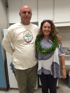 Guest speaker and executive director of the Maui Nui Botanical Gardens (MNBG), Tamara Sherrill and her husband, Erik Nelson, pose after informative presentation.