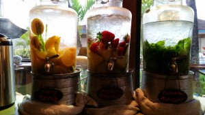 Ice-cold herb and fruit-infused waters.
