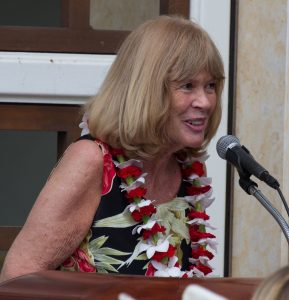 Art Maui President Renee Lackey speaks at the artists' reception. Photo credit: Ed Lyman.