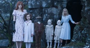 Peculiar children Olive, Bronwyn, Millard, the Twins and Emma played by Lauren McCrostie, Pixie Davies, Cameron King, Joseph Odwell, Thomas Odwell and Ella Purnell. (Left to right)