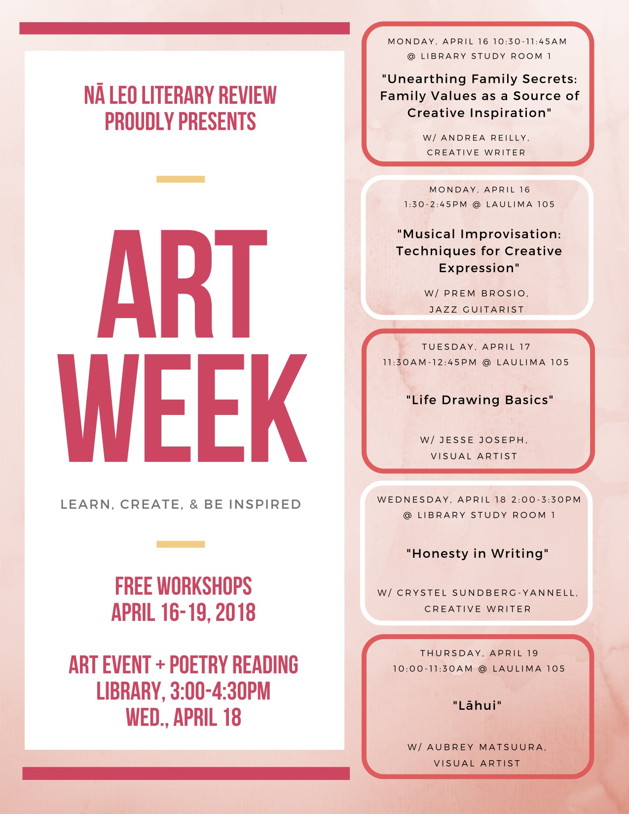 nā leo literary review presents art week ho oulu