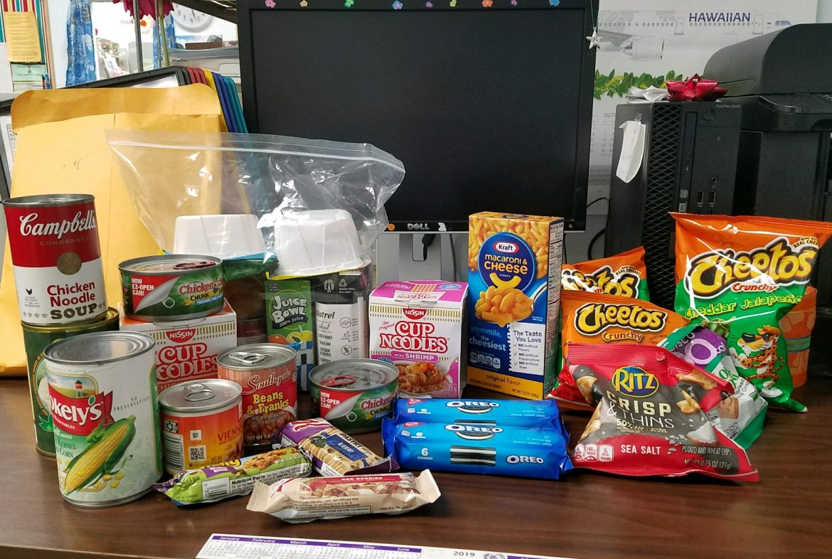 A pile of food to be given to students.