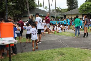 Young kids are separated into groups to play games for Makahiki.