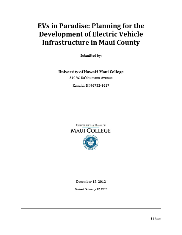 EVs in Paradise: Planning for the Development of Electric Vehicle Infrastructure in Maui County