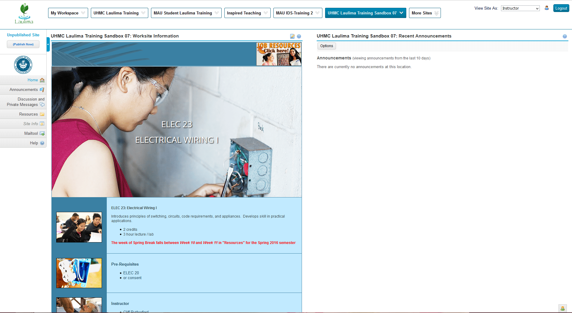 Instructors Finished Home Page with Template