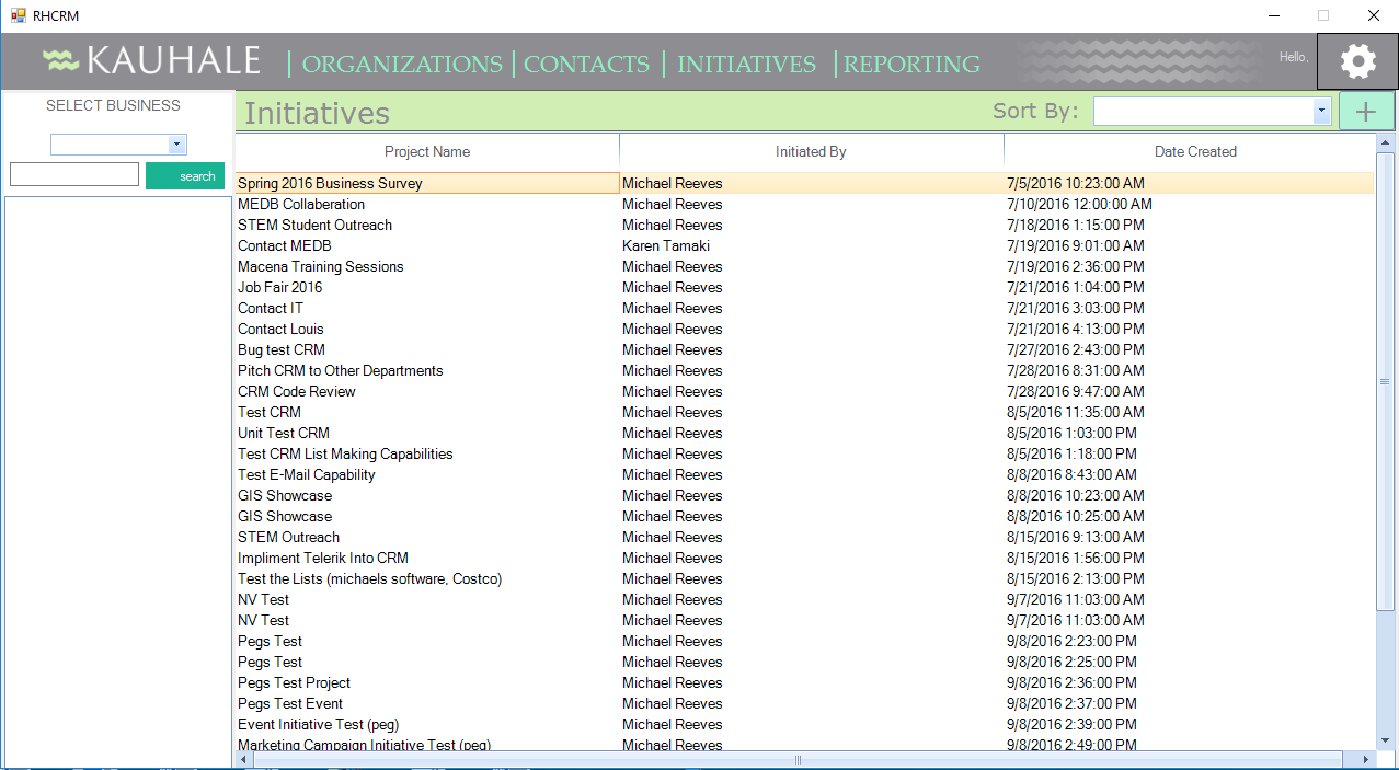 Screenshot of the Kauhale Initiatives Screen