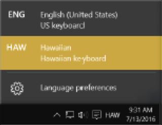 Selecting the Hawaiian keyboard in the task bar for windows 10