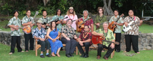 The staff and students of the Institute of Hawaiian Music's first cohort. Spring 2013. Photo courtesy John Henry.