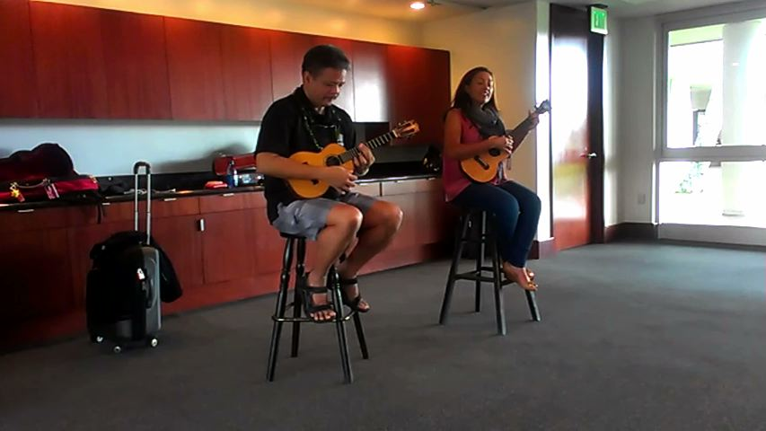 "Raiatea Helm and Bryan Tolentino performing ""Kalama'ula"" for IHM students at the Maui Arts and Cultural Center."