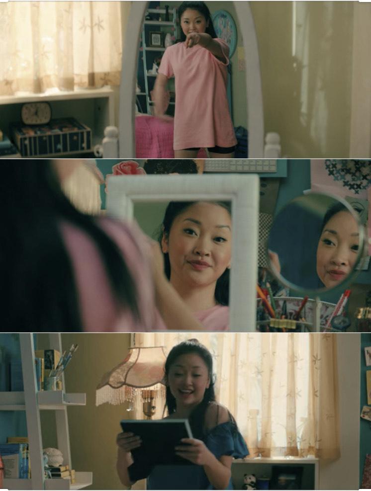 Lara Jean dances in front of her mirror