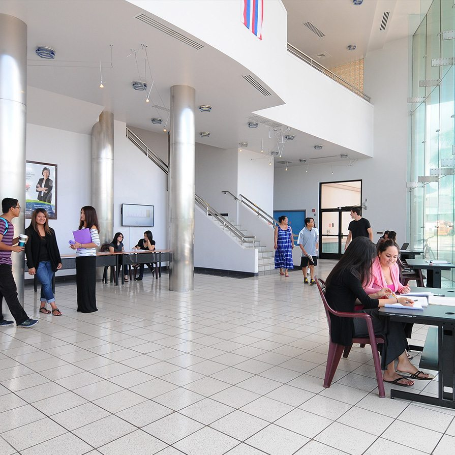 Kaaike Building Lobby with Students
