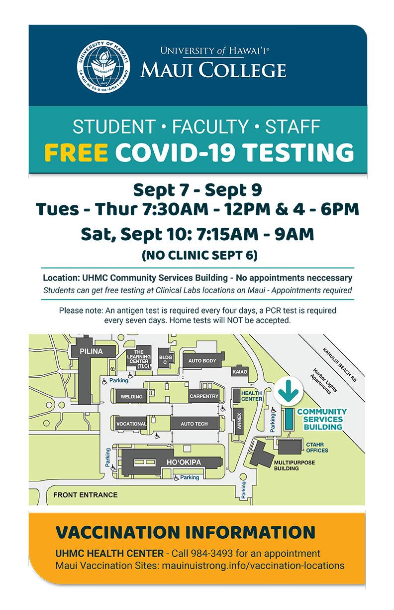 UH Maui College Covid Vaccination and Testing Requirements